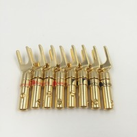 8pcs Free Shipping Nakamichi Brass Gold Plated And Silver Plated Y Spade Speaker Plugs Audio Screw