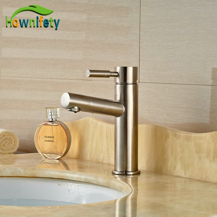 Contemporary Brushed Nickle Basin Faucet Bathroom Vessel Sink Tap Hot&Cold Tap Waterfall Spout led color changing brushed nickle basin faucet hot and cold water faucet waterfall spout dual handle tap