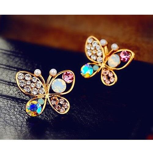1Pair Women's Cute Temperament Crystal Rhinestone Hollow Butterfly Ear Stud Earrings Jewelry