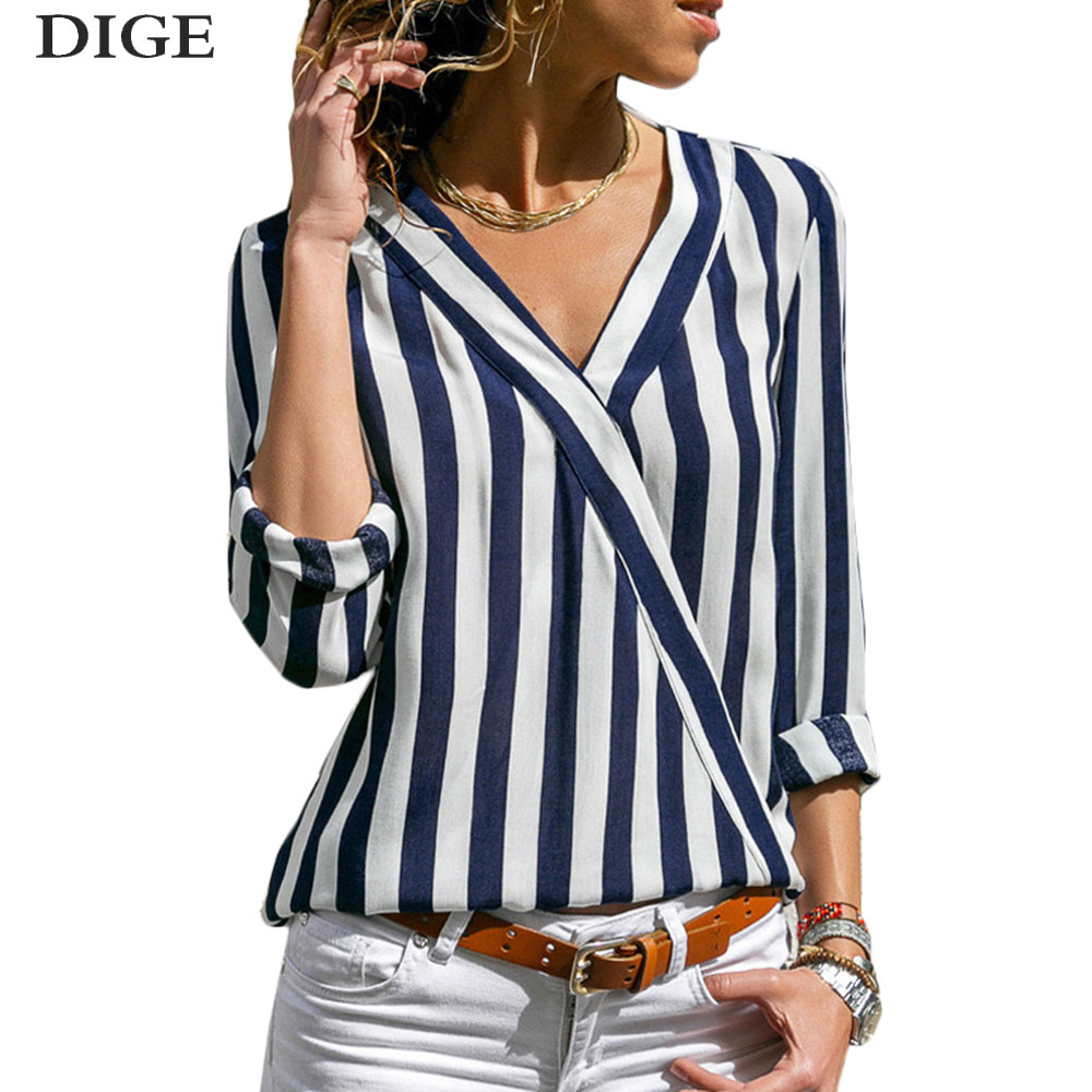2019 New Fashion Casual Tops   Blouse   et Women Striped   Blouse     Shirt   Long Sleeve   Blouse   V-neck   Shirts   Chemisier Femme Blusas Mujer