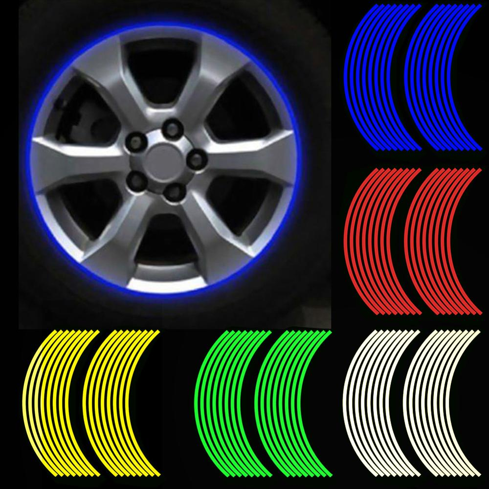 16Pcs/set 18inch Strips Motorcycle Car Rim Stripe Wheel Decal Tape Sticker Lots Reflective Material Road Safety Reflect Tape
