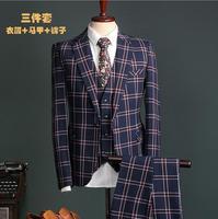 2017 factory direct clothing Groom Tuxedos Business Dress dinner party Suit Wedding Men Suits Blue lattice Set jacket pant vest