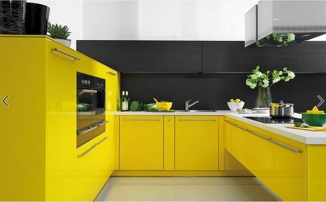 2017 gabinetes de cocina modernos contemporáneo color amarillo alto ...