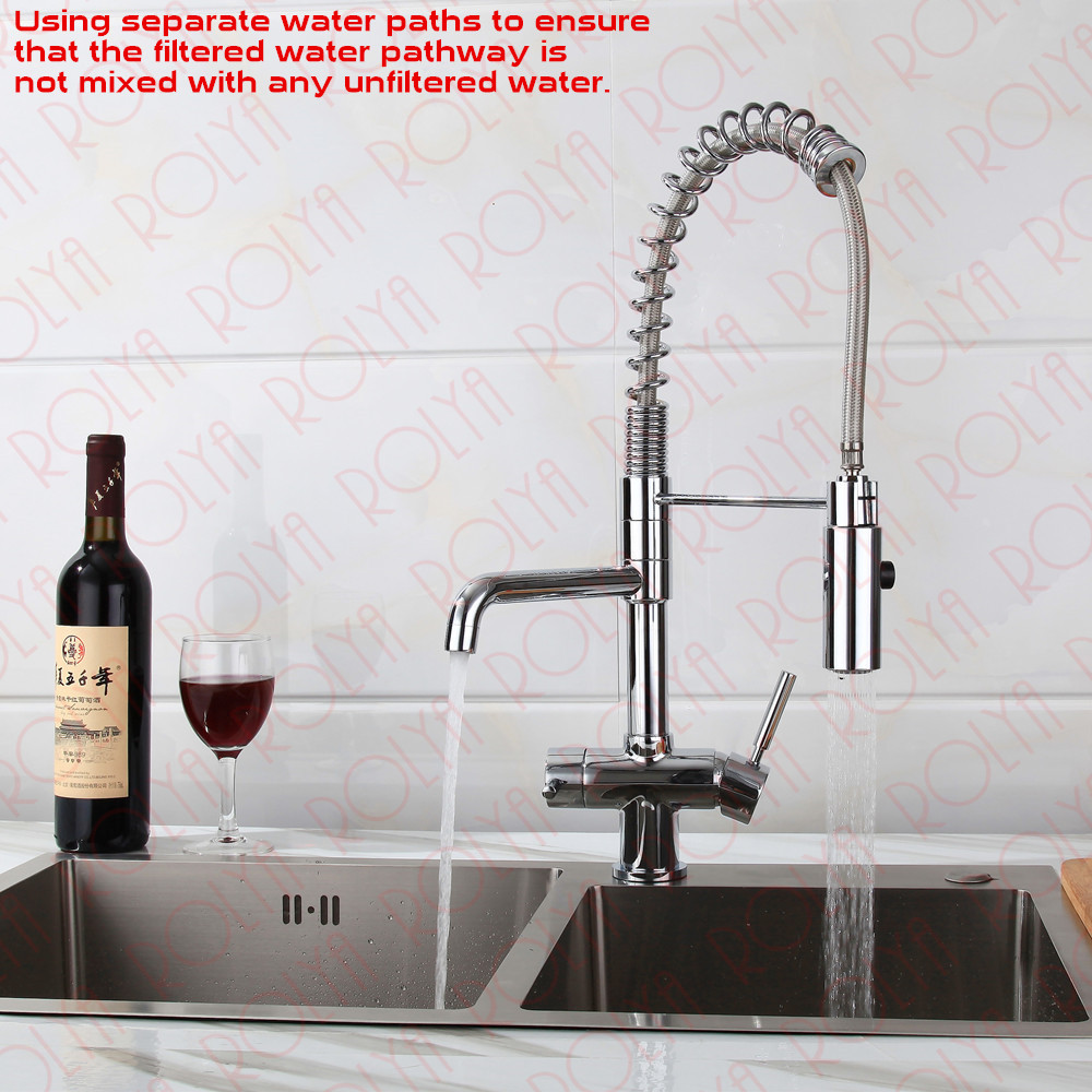 Rolya 3 way kitchen faucet with spring hose 5