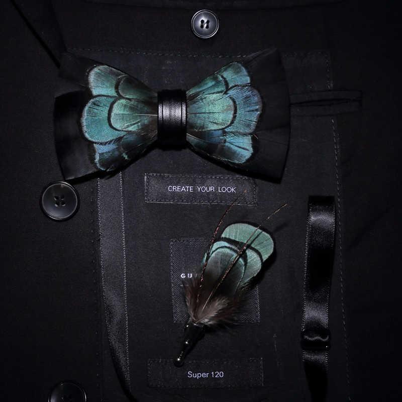 Jerman Asli Bulu Burung Dasi Kupu-kupu Indah Buatan Tangan Biru Hitam Fashion Dasi Kupu-kupu Bros Pin Hadiah Set Kotak untuk Pesta