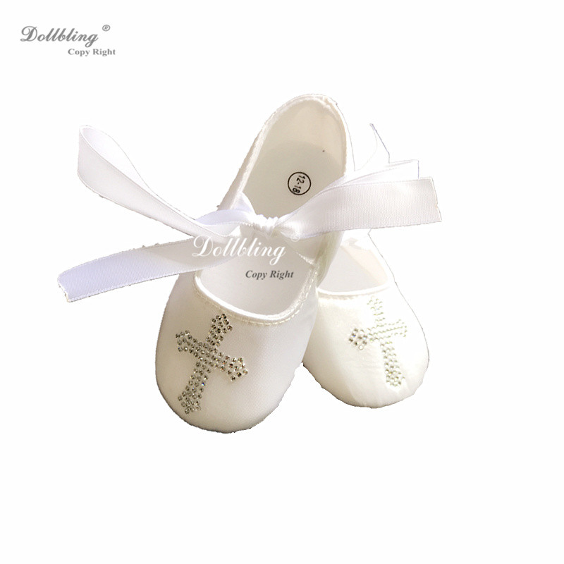6e67f76a7f18de Dollbling Desginer Keepsake Crtsral Hot Fix DMC Bling Crucifix Christening  Baptism Satin Ballerina Etsy Baby Shoes 0-1Y