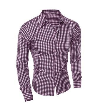 ISHOWTIENDA Men Shirts Long Sleeve  Cotton Business Casual Shirt Men Long Sleeved High Quality Fashion#W35 1