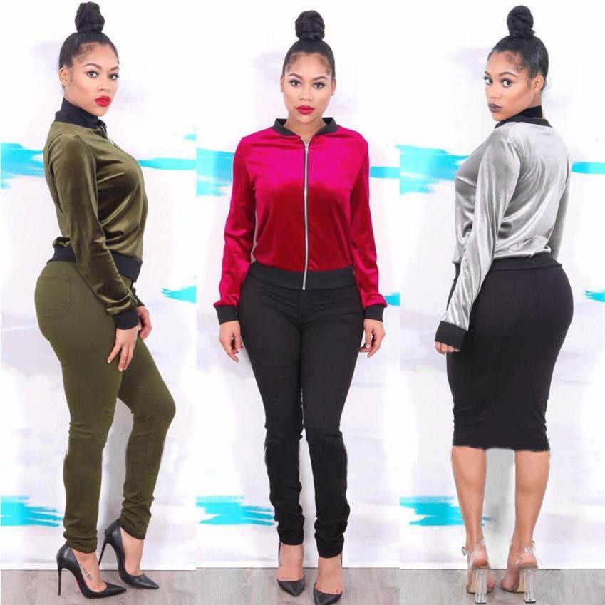 66d9099385d ... 2018 Autumn Winter Velvet Bomber Jacket Army Green Red Ladies Long  Sleeve Outerwear Women Basic Coats ...