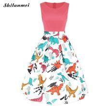 Plus Size 3XL Lovely Print Vintage Dress Women Summer Sleeveless A-Line Swing Party Dress Cute Casual Slim Summer Dress Female недорого