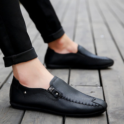 Homens verão sapatos casuais Mens sólidos Luz Confortável Sapatos Baixos preto zipper de couro Loafers Calçado sneakers mocassin homme 89