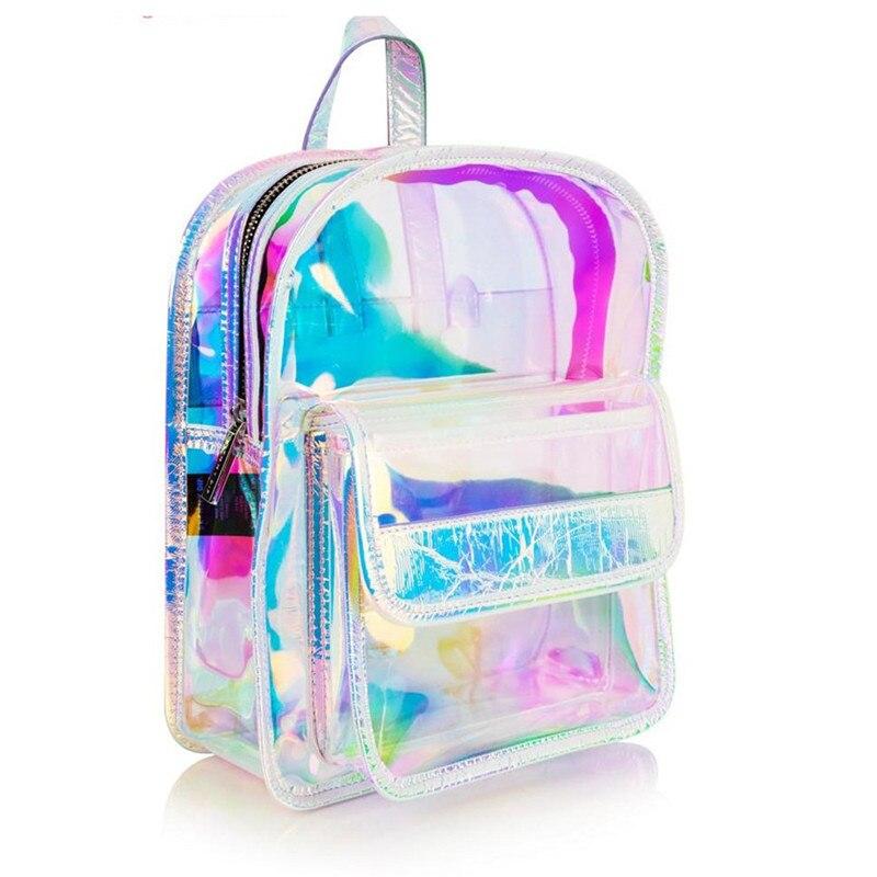 Lait ours 2018 sac à dos nouveau femmes sac à dos Mini sacs de voyage transparent laser sac à dos femmes filles sac en cuir PU sac d'école