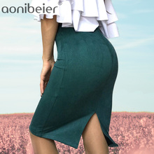 Aonieber Casual mujeres faldas primavera otoño señora Streetwear elástico  ajustado de la longitud de la rodilla longitud falda l. 361598ddb3a8