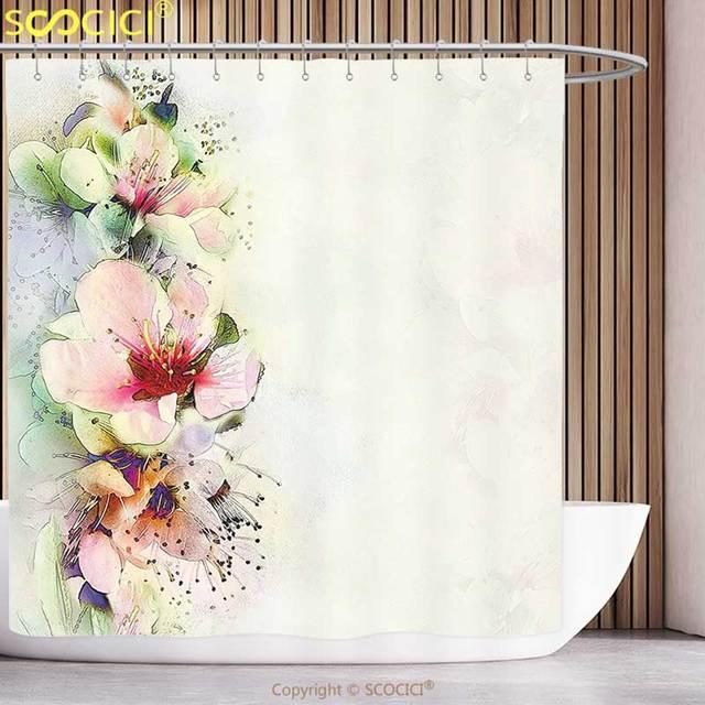 funky duschvorhang shabby chic fr hjahrssaison floral blume details mit bl tter abstrakte. Black Bedroom Furniture Sets. Home Design Ideas