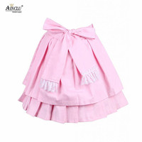 Ainclu Free Shipping hot selling Cemavin Womens Cotton Pink Bow Pleated Lolita Skirt for adults usually days