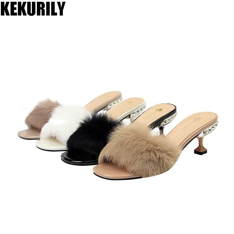 6a8f5946b001 Shoes woman rabbit fur Mules rhinestone Peep toe Slides High heels shoes  furry Slippers zapatos mujer black khaki white purple