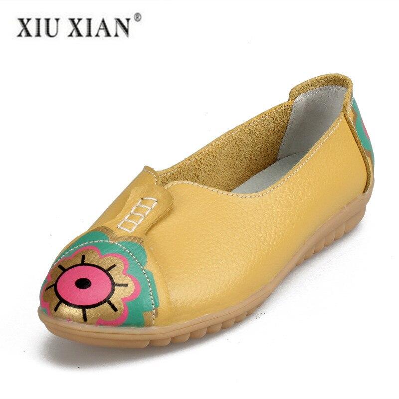yellow En De Confortable Véritable pink Base Femmes Luxe Dames Blue Eye Appartements Chaussures white Imprimer D'hiver Solide Cuir Mocassins dshotCxQrB