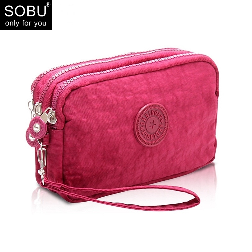 2018 New Coin Purse Women Small Wallet Washer Wrinkle Fabric Phone Purse Three Zippers Portable Make Up Bag N0752018 New Coin Purse Women Small Wallet Washer Wrinkle Fabric Phone Purse Three Zippers Portable Make Up Bag N075