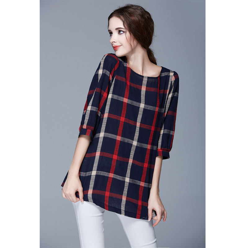 Las Autumn Red Plaid Linen Tee Shirt Women Casual Office Work Wear Tops Plus Size 5xl 4xl T Clothing Tees Fall 2016 New In Shirts From S