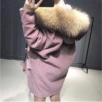 Astrid Blusa 2017 Winter Jacket Coat Women's Parkas Corduroy Fur Coat Real Raccoon Fur Collar Natural Fox Fur Liner Brand Style