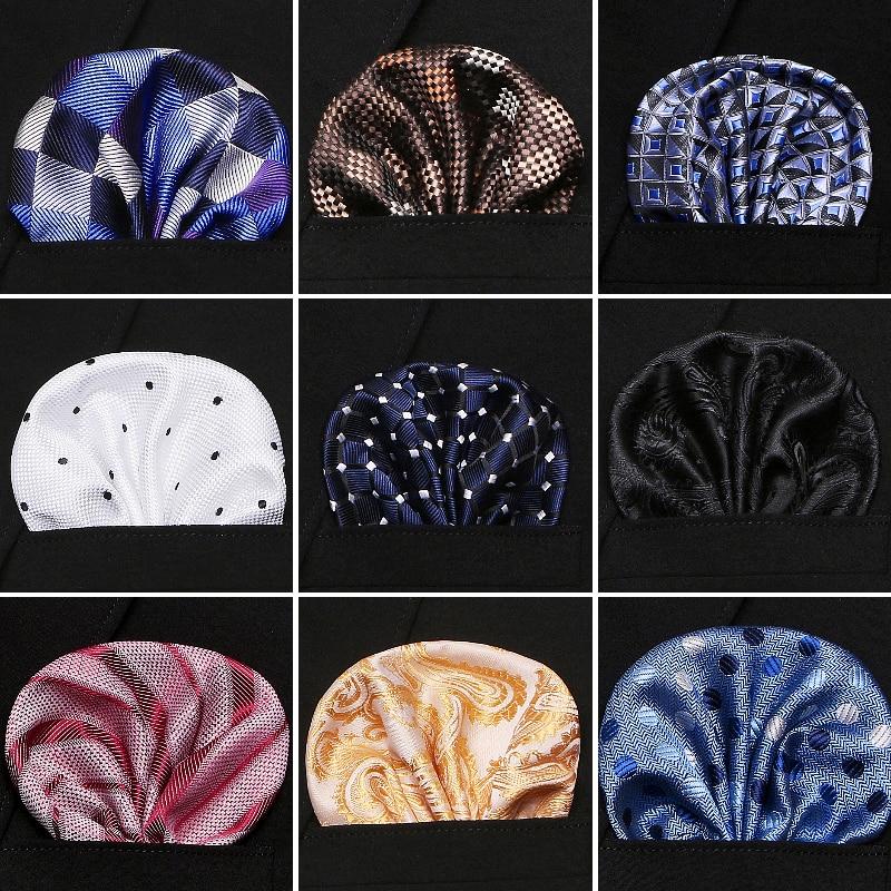 Solid Color Vintage Fashion Party Men's Handkerchief Groomsmen Men Jacquard Silk Plaid Pocket Square Hanky Handkerchiefs