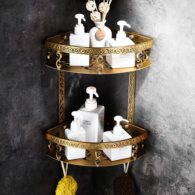 European Carving Space Aluminum Corner Bathroom Rack Shelf American Belt Hook Shower Basket Soap Wall Shelf 2 Layers Bathroom