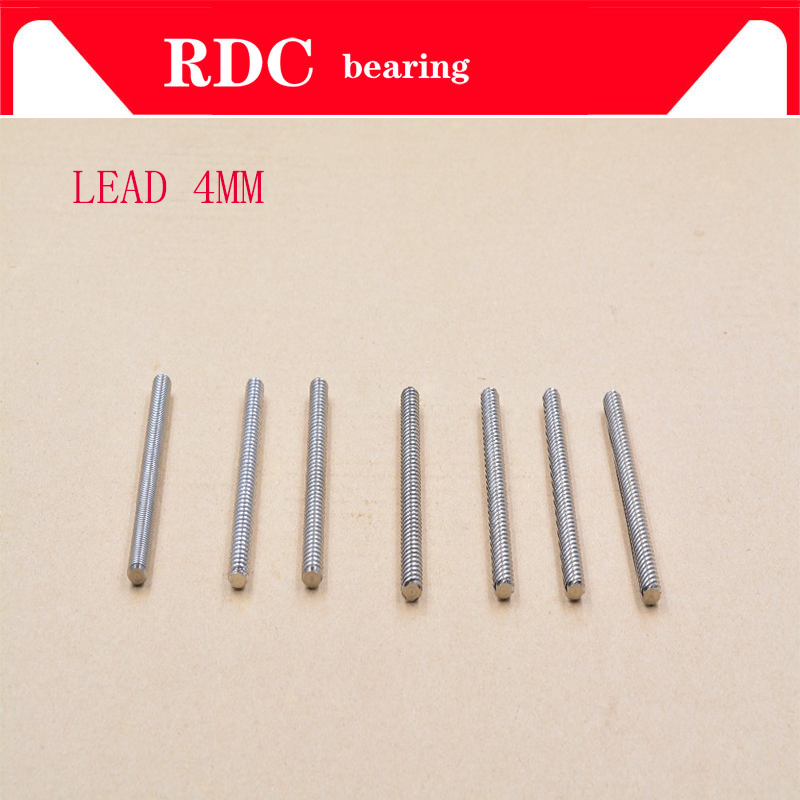 304 Stainless Steel T8 2MM Screw Length100 120 150 160 190 200 230 240 250 260 300-380mm Lead 4mm Trapezoidal Spindle Screw 1pcs