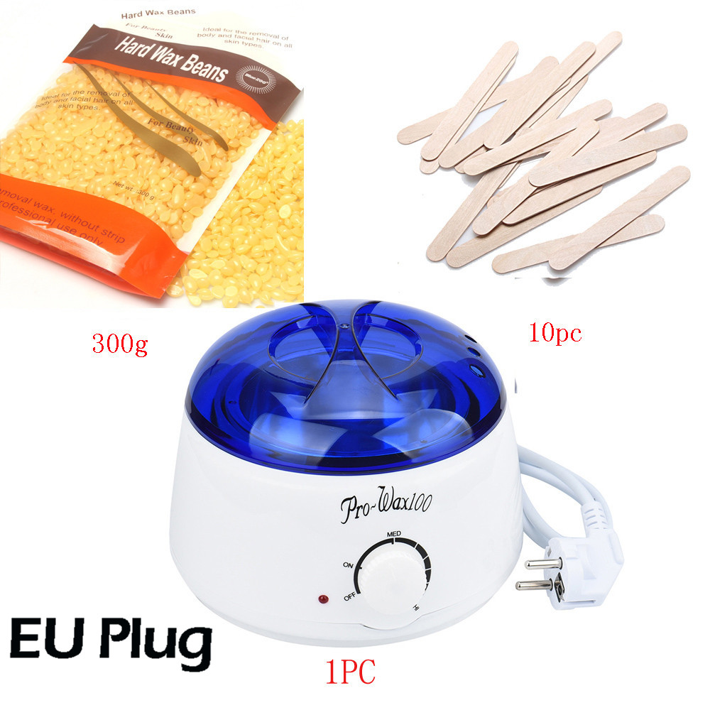 EU Plug hard wax beans depilatory 300g Wiping Sticks Hot Wax Warmer Heater Pot Depilatory MINI SPA hair removal machine set depilatory wax warmer hard wax beans hair removal black wax machine 250g natural beans for beauty spa epilation