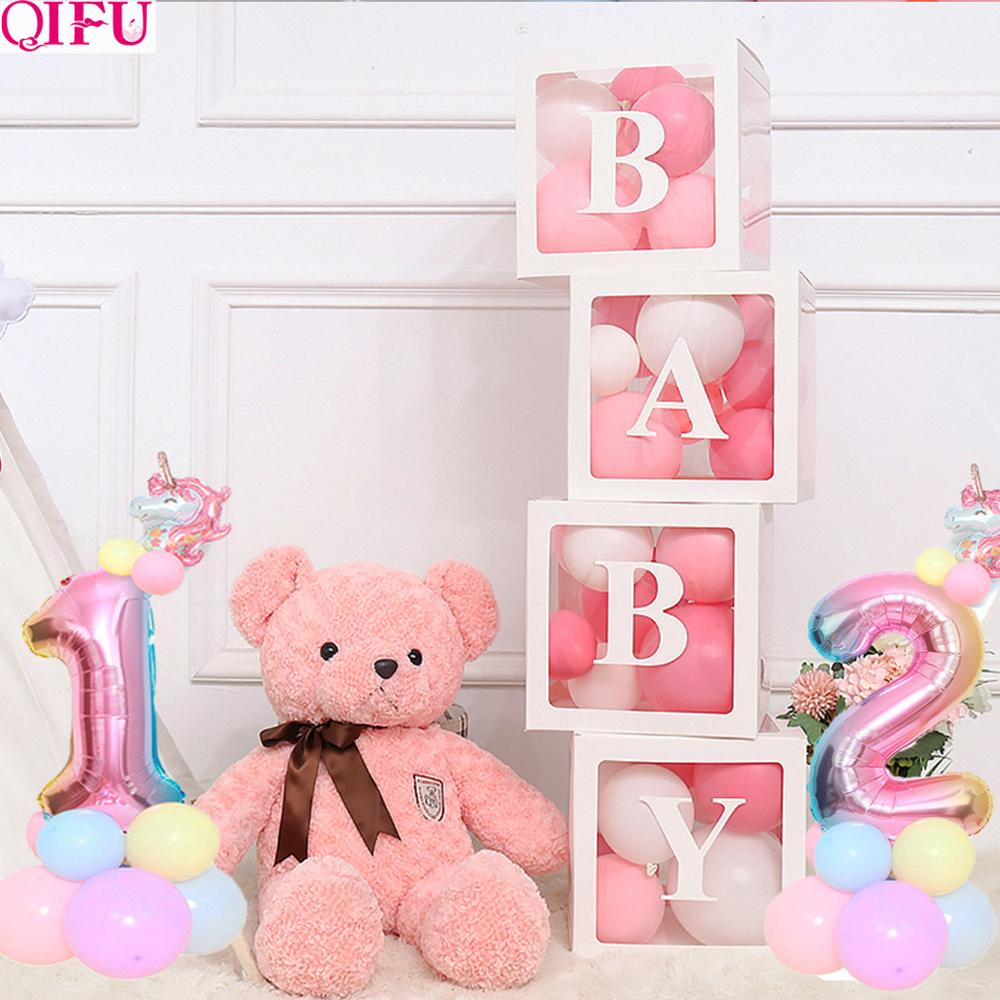 Transparent Box DIY letter Balloon Baby 1st Birthday Balloons 1st Birthday Decorations Baby shower Party Baloon 2 Years Birthday in Ballons Accessories from Home Garden