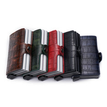 New Crocodile pattern Card Holder RFID Blocking Aluminium Business ID Credit Card holder Men Slim Double Case Wallet Purse