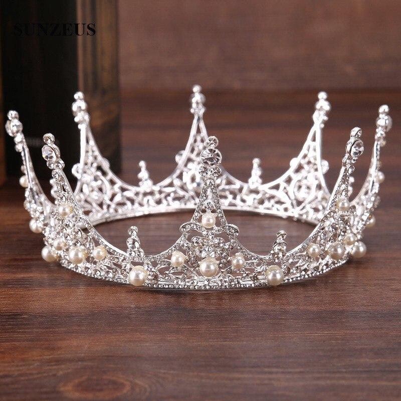 New Round Crown Pearls Crystal Bridal Tiara High Quality Princess Headwear Wedding Hair Accessory SQ0155