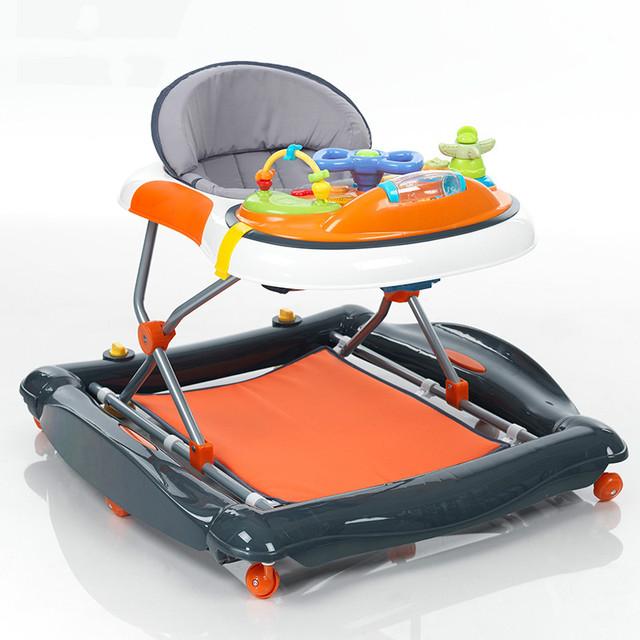 Caminante del bebé de múltiples funciones de prevención sobre música de la escuela de conducción cinturón bebé pasos para doblar