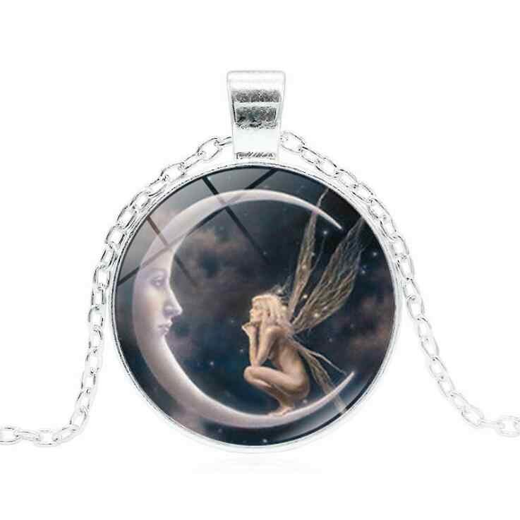 3 cores lua bonita menina pingente pentagrama colar bruxa jóias cúpula de vidro wiccan colar corrente de prata charme wicca jóias