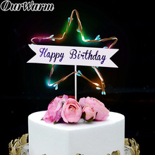 OurWarm Luminous Happy Birthday Cake Topper LED Cupcake Toppers Decoration for Baby Shower Party Supplies