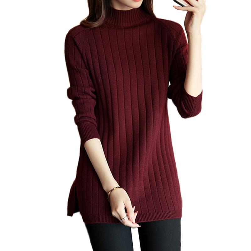 Womens Gray Retro Korean Style Wool Blend High Neck Knitted Sweater Blouses E664