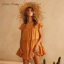WildPinky BOHO dress loose Vintage Ruffles Dress Women Summer yellow Sexy Beach Sundress Casual Streetwear cotton Bohemia
