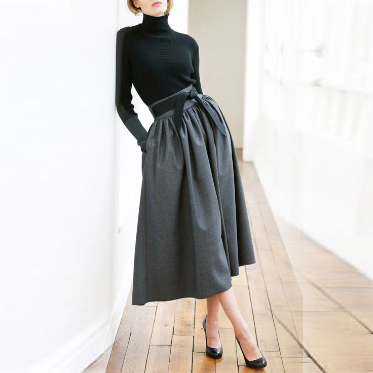 Aliexpress.com : Buy Black Midi Skirts Zipper Waist With Ribbons ...