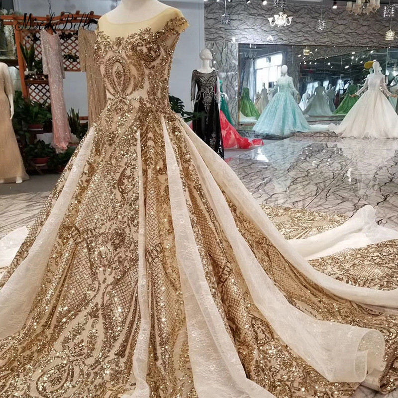 modabelle Luxurious Arabic Style Evening Dress Scoop Short Sleeves Ball Gown Dubai Gold SequinFormal Dresses Evening Gown