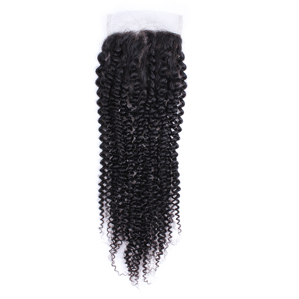 MOGUL HAIR Mongolian Kinky Curly Closure Hand Tied 4*4 Lace Closure Free Part Middle Part Natural Remy Human Hair 8-20 Inch