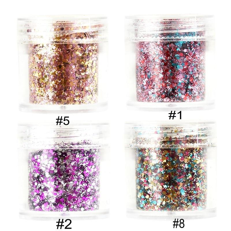 1 Box Chunky Glitter 10ML Face Body Nails Hair Festival Gems Beauty Makeup Accessories Holiday Beach Birthday Gift MA03(1,2,5,8)