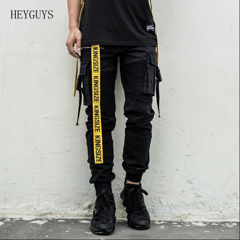 HEYGUYS Pant Joggers Male Casual-Trousers Harem Elastic Punk Street Multi-Pocket Hip-Hop