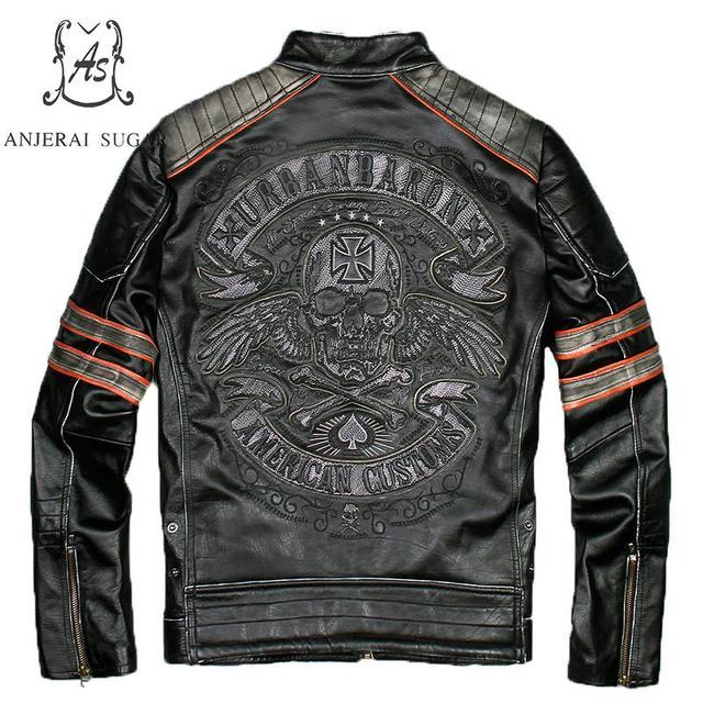 Plus Size genuine Retro-made cow leather jacket men punk vintage Embroidered Skulls black gray Motorcycle bomber jackets coat