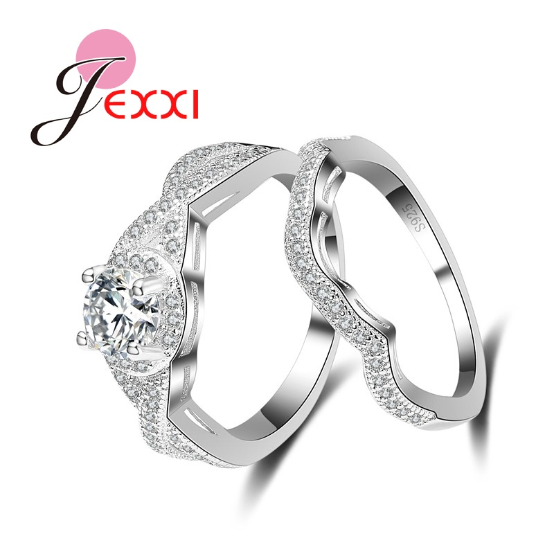 JEXXI Luxurious Cross Hollow 925 Sterling Silver Finger Rings Set Shiny Cubic Zirconia Crystal Wedding Engagement Fashion Ring