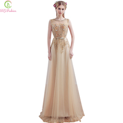 2017 SSYFashion Luxury Gold Embroidery Beading Evening Dress Fashion  Banquet Bride Long Party Prom Dresses Custom Robe De Soiree ca9bd1aa6