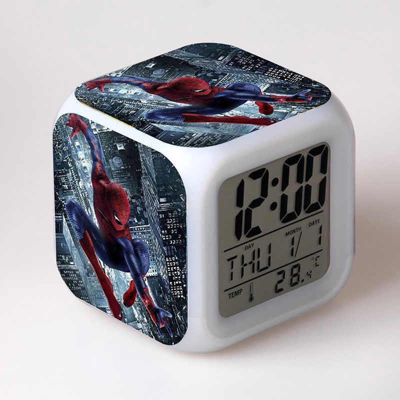 Vingadores Figura Do Homem Aranha homem Aranha LEVOU Despertador Colorido leve Toque Flutuante Brinquedos Figma