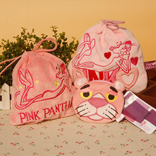 cool 1PCS Pink Pather Anime  Cartoon Drawstring Bags Cute Plush storage handbags makeup bag Coin Bundle Pocket Purse NEW