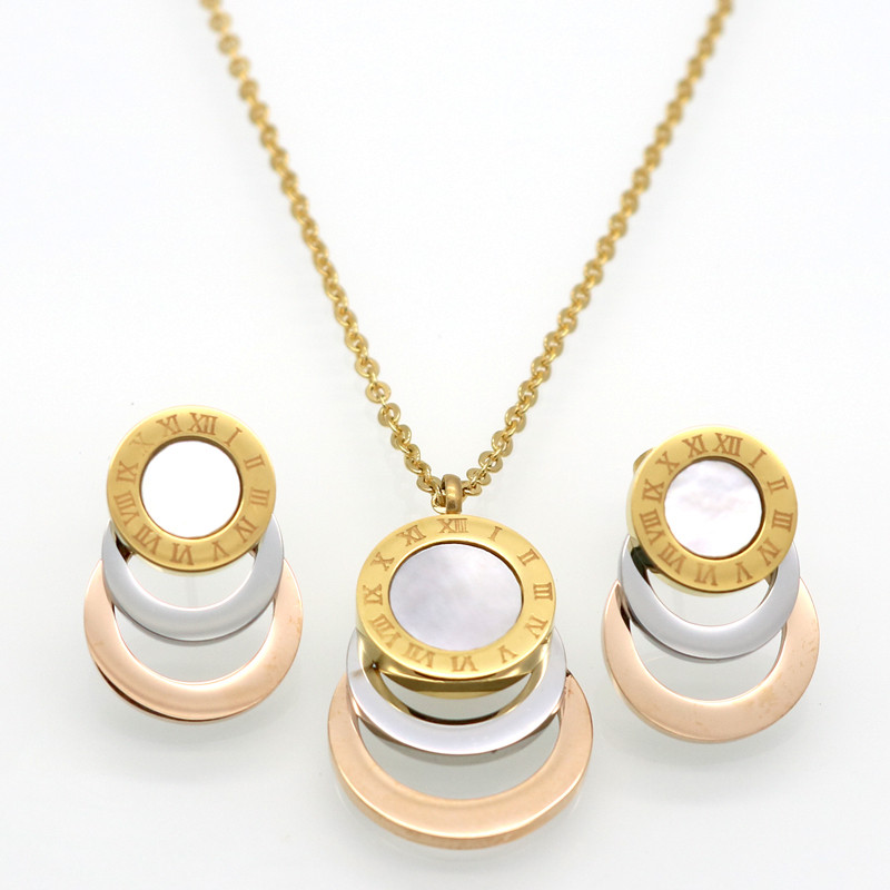 Consist 3 Colour Gold/Silver/Rose Gold <font><b>Stainless</b></font> <font><b>Steel</b></font> <font><b>Jewelry</b></font> Stes Brand <font><b>Women</b></font> Earrings & Necklace <font><b>Jewelry</b></font> <font><b>Set</b></font> <font><b>For</b></font> Female image