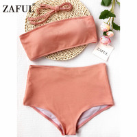 Zaful 2017 New Arrival Women Ribbed Texture Bandeau High Waisted Bikini Solid Collor Bandeau Collar Swimsuit