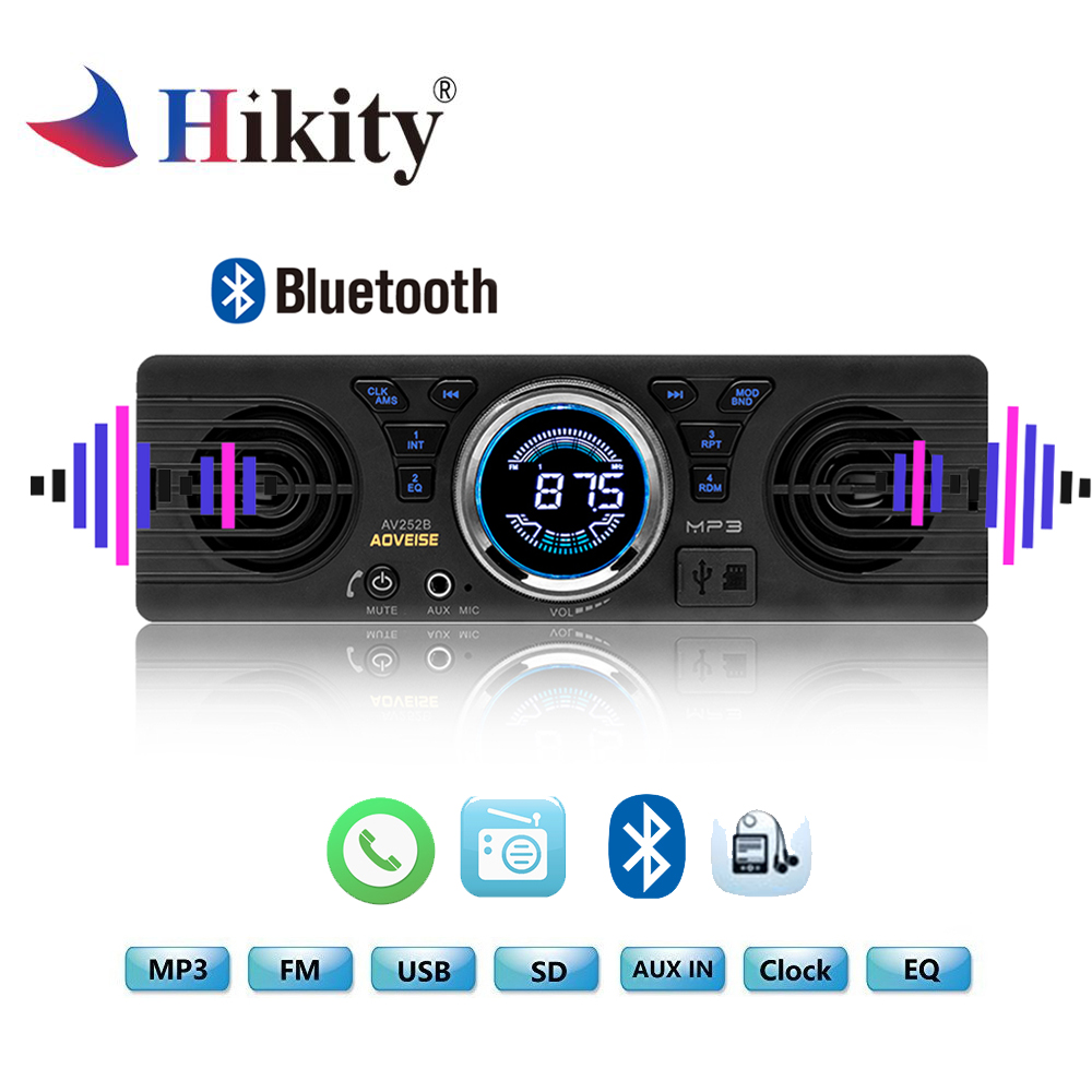 Hikity Autoradio 1 Din Car Radio 12V Bluetooth <font><b>2.1</b></font>+EDR Vehicle Electronics MP3 Audio Player Car Stereo FM Radio with USB/TF Card image