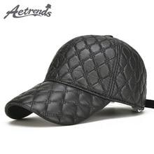 cc7398a7217  AETRENDS  2017 New Autumn Winter 100% Genuine Leather Baseball Cap Men  Sheepskin Leather