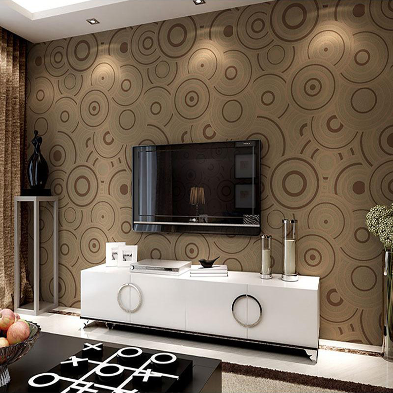 Modern Simple 3D Stereoscopic Green Circles Wallpaper Thickening Non-woven Living Room Sofa TV Background Wall Papers Home Decor simple striped lines modern wall papers home decor wallpaper for living room bedroom tv sofa background wallpaper for walls 3 d